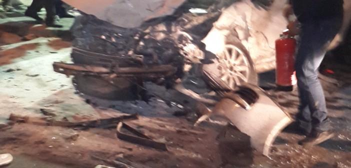 بالصور.. حادث تصادم عنيف على طريق البحر بالإسكندرية
