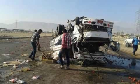 مصرع 7 وإصابة 11 في حادث تصادم على طريق السويس ـ العين السخنة