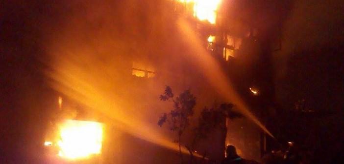 بالصور.. حريق مصنع العوازل الحرارية على طريق مصر الإسكندرية الزراعي