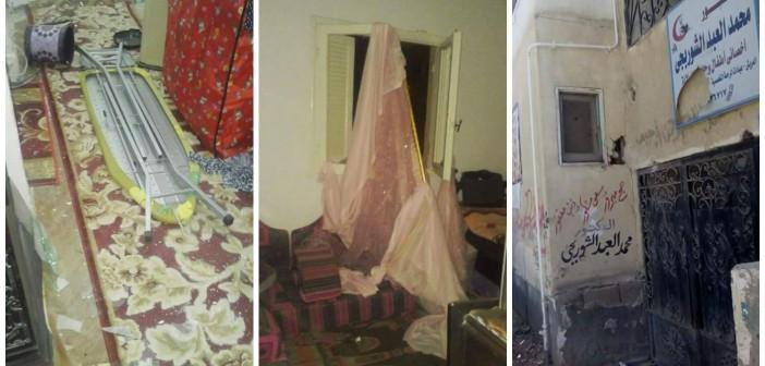 16 صورة.. آثار هجمات العريش على منازل المواطنين في «الضاحية»