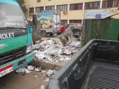 القمامة أمام مديرية التربية والتعليم بالفيوم