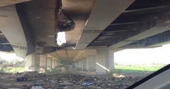 انهيار أجزاء من كوبري على طريق جمصة المنصورة الدولي