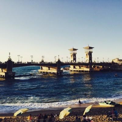 كوبري ستانلي وقت الغروب ـ إسكندرية (تصوير ديدي القاضي)