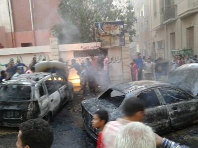 انفجار سيارتين بالفيوم