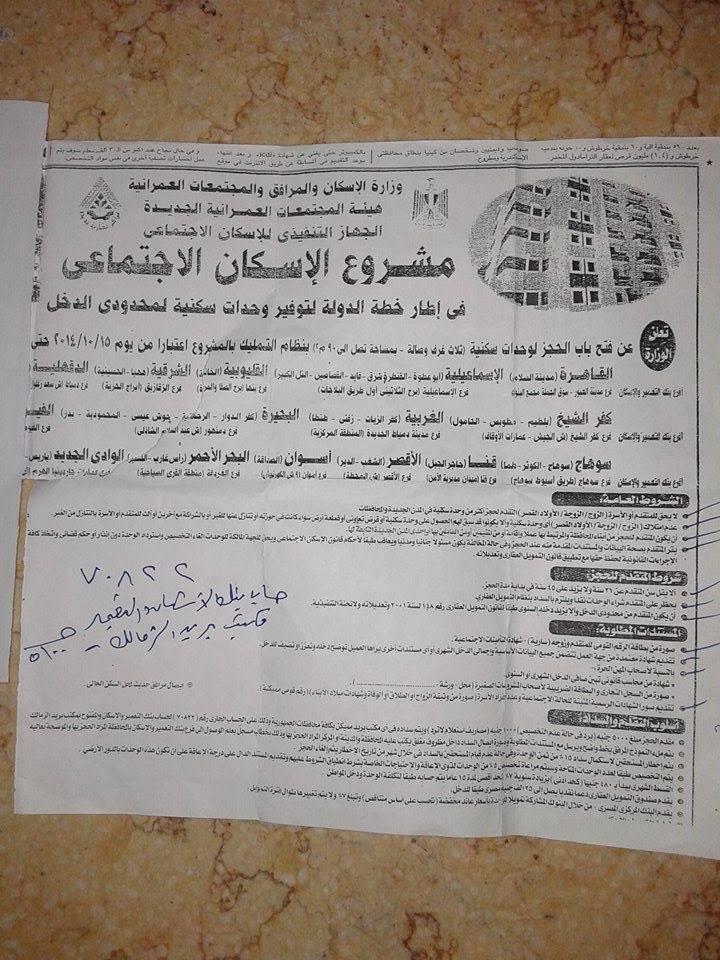 إعلان وزارة الإسكان عن شقق محدودي الدخل