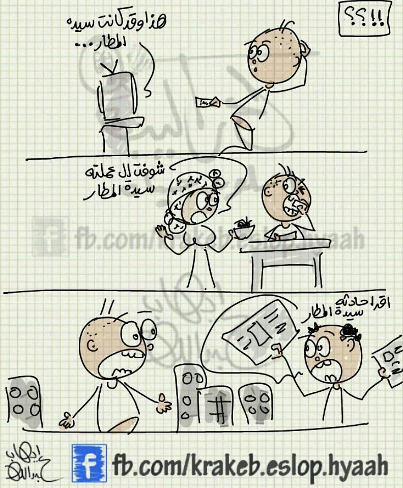 سيدة المطار.. أي كلام فاضي معقول (كاريكاتير إيهاب عبدالله)