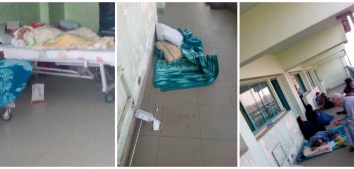 بالصور.. مستشفى النيل «لا تأمين ولا صحي»: المحلول والمرضى «ع الأرض»