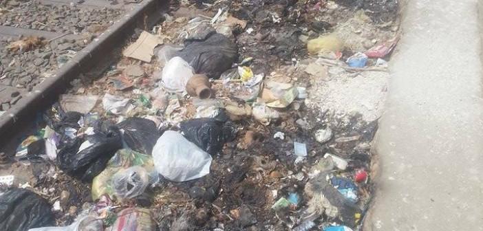 تكدس القمامة على شريط القطار في قرية «جوجر» بالدقهلية 📷