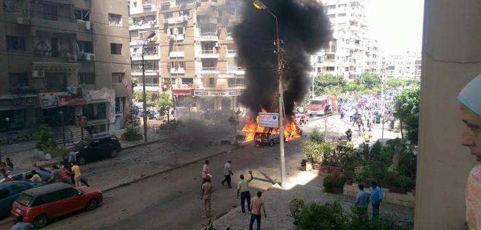 شاهد الصور الأولى لتفجير موكب النائب العام بمصر الجديدة 📷