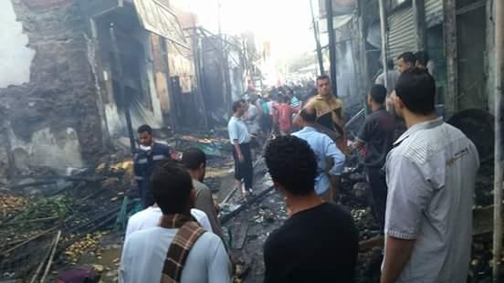 🔥 حريق ضخم بسوق «الخارجة» بالوادي الجديد 📷