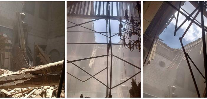 بالصور.. كارثة.. انهيار سقف جامع ومدرسة بيبرس الخياط.. و«الآثار» غائبة 📷