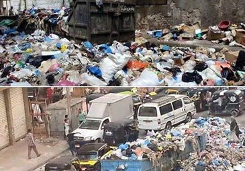 تراكم القمامة في شوارع الإسكندرية