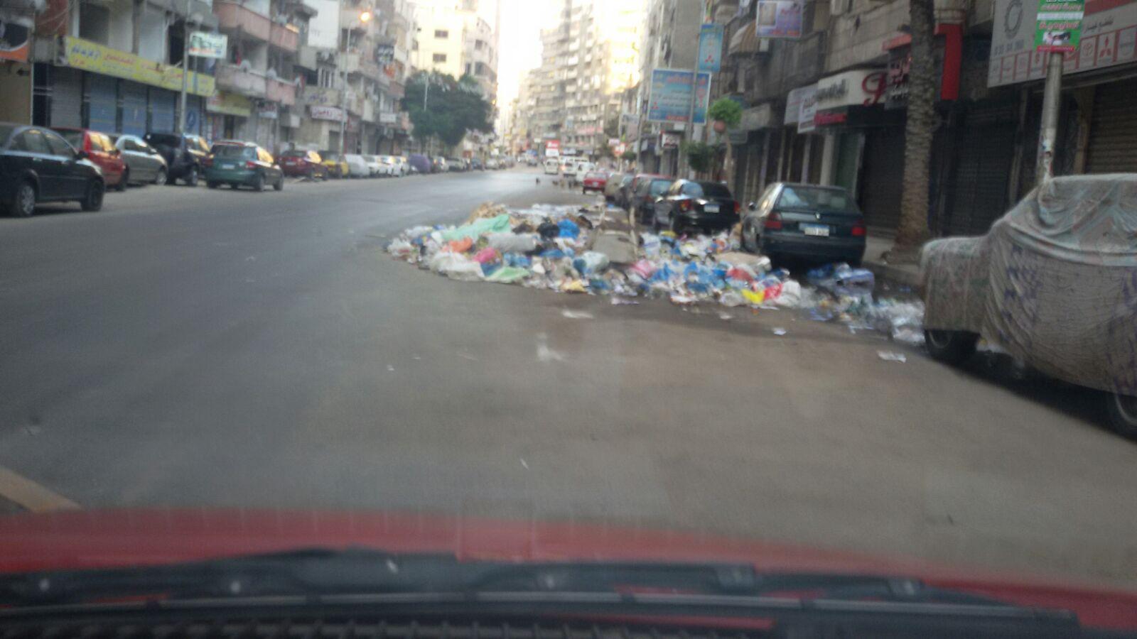 تراكم القمامة في شارع جمال عبدالناصر بالإسكندرية «أين الباشا المحافظ»
