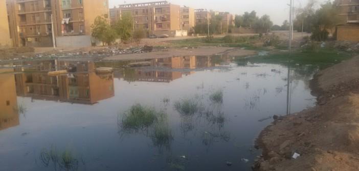 بالصور.. مياه الصرف تغرق مستعمرة السد العالي.. والأهالي يلجأون للسواتر الترابية 📷