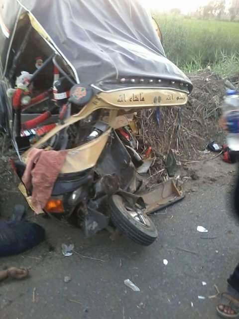 مصرع 7 بينهم 4 أطفال وإصابة والدتهم في حادث تصادم مروع على طريق السنبلاوين