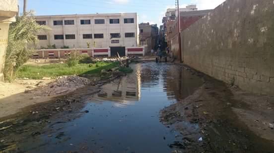 بالصور.. الطريق لقرية ومدرسة «الجدية» برشيد «غرقان» بمياه الصرف