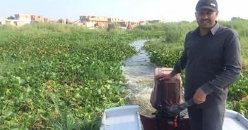 صور.. «ورد النيل» يغزو بحيرة المنزلة.. ويشل الحركة فيها
