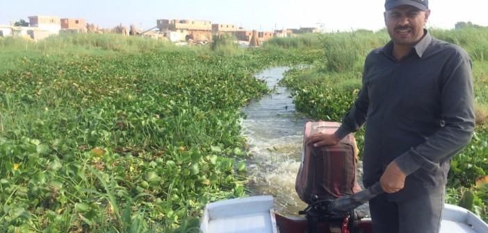 بالصور.. «ورد النيل» يغزو بحيرة المنزلة.. ويشل الحركة فيها 📷