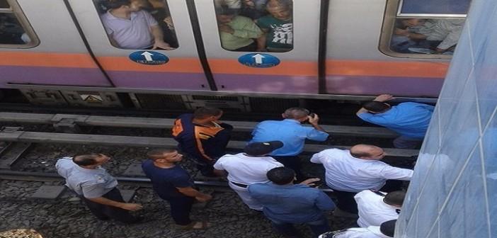 بالصور.. لحظة توقف المترو في محطة فيصل بعد سقوط فتاة على القضبان 📷