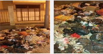 غياب خدمات النظافة وتراكم القمامة على سور مستشفى السرو بدمياط