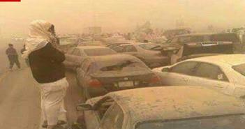 بالصور والفيديو.. عاصفة رملية تضرب السعودية