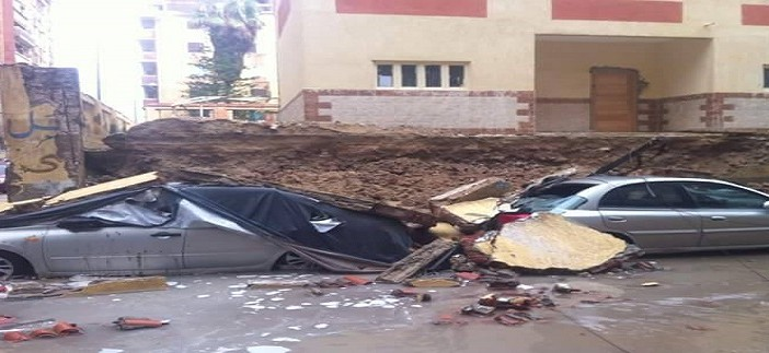 ⛅ بالصور.. انهيار سور مدرسة «سمية الخشاب» بالإسكندرية 📷