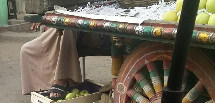 صورة.. بـ«الشبشب».. بائع يضع قدمه على ثمرات الفاكهة قبل بيعها للمواطنين 📷