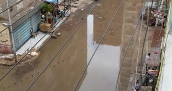 غرق شوارع في المنصورة في مياه الأمطار