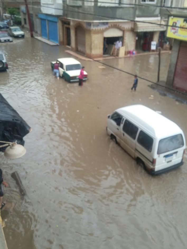 غرق شوارع كفر الشيخ بمياه الأمطار