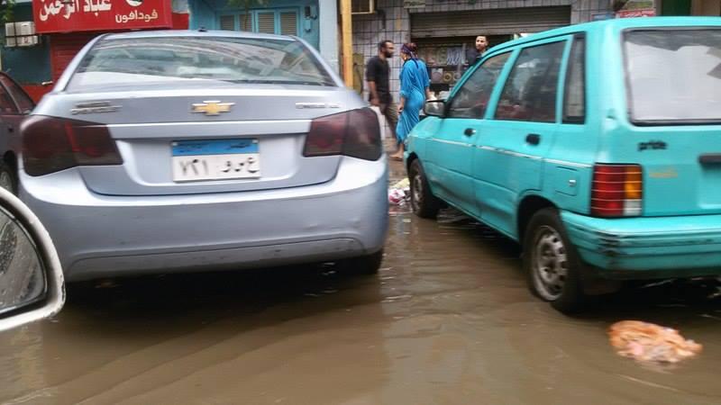 شارع طومنباي في مصر الجديدة بعد الأمطار
