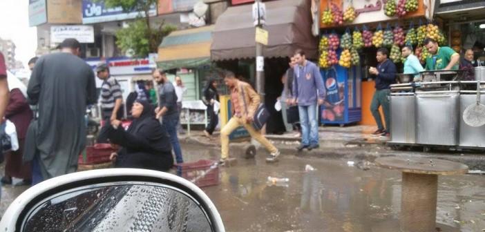 📷| تجمعات لمياه الأمطار في ميدان حلمية الزيتون