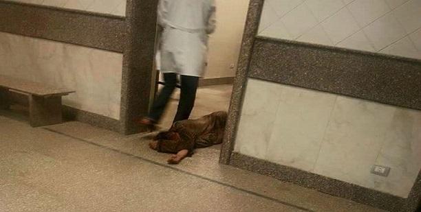 صورة| مأساة بالمستشفى الميري.. مريض على الأرض ومُمرضة تمر بجواره دون نجدته