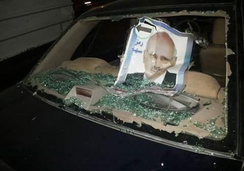 📷| اعتداء بالحجارة على حملة أحد مرشحي جولة الإعادة بالشرقية