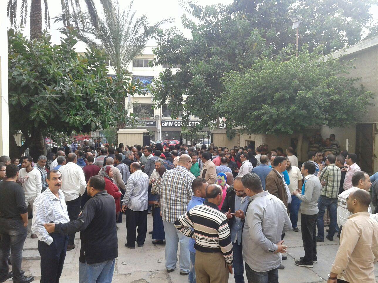وقفة العاملين في «اختبارات القطن» بالإسكندرية لإقالة مجلس إدارتها