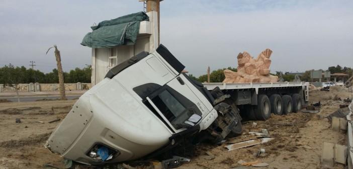 بالصور.. مصرع شخص وإصابة آخر في تصادم برأس سدر بجنوب سيناء
