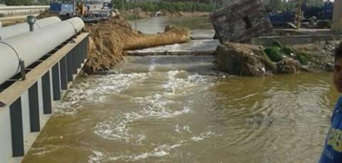 📷| انهيار جسر للصرف على مياه محطة الكيلو 40.. و48 ساعة انقطاع في برج العرب
