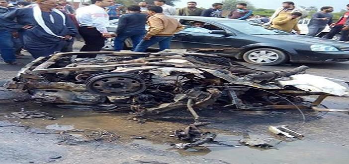 📷| شاهد.. الصور الأولى لانفجار سيارة مفخخة في أبو كبير بالشرقية