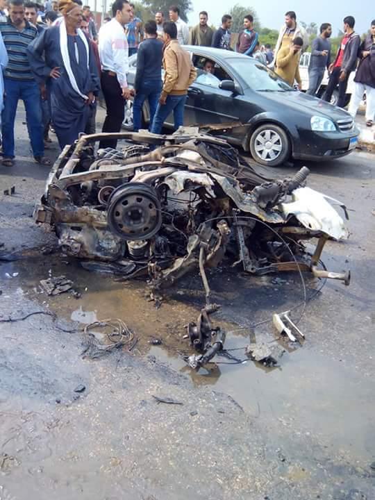 أول صورة لانفجار سيارة مفخخة في أبو كبير بالشرقية