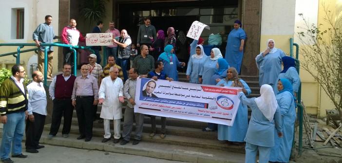 📷| صور من إضراب العاملين في التأمين الصحي بيومه الثاني