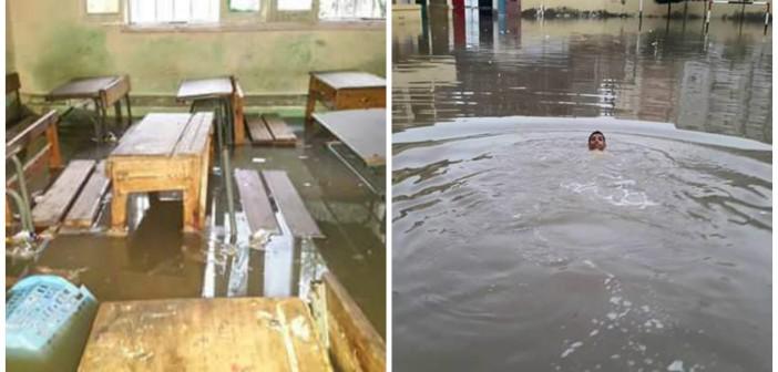 بالصور.. غرق فصول مدرسة بالبحيرة في مياه الأمطار.. والحوش حمام سباحة 📷