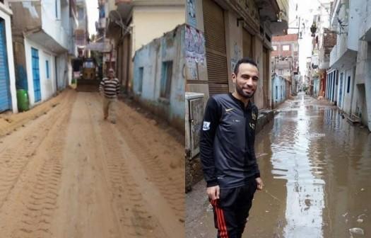 📷| أهالي صان الحجر بالشرقية يواجهون الأمطار بالرمل والزلط