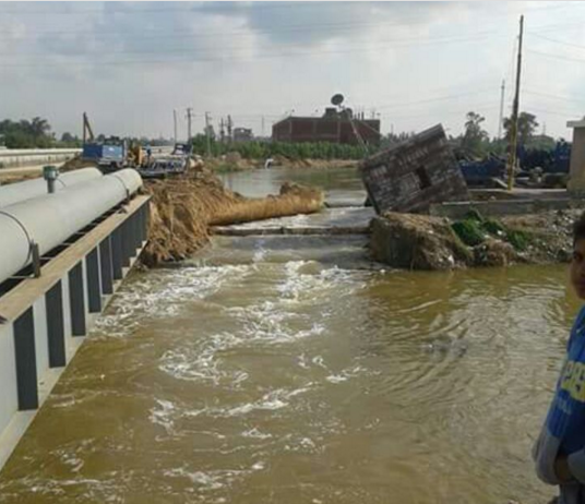 انهيار جسر للصرف في برج العرب بالإسكندرية