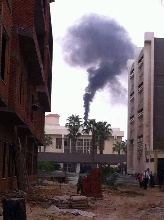 مشاهد تلوث محرقة مستشفى طنطا الجامعي