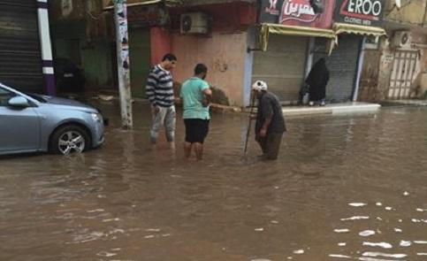 📷| غرق شوارع في دكرنس بعد مياه الأمطار