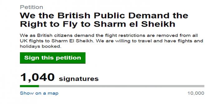 حملة توقعيات بريطانية لمطالبة الحكومة والبرلمان برفع حظر السفر لشرم الشيخ