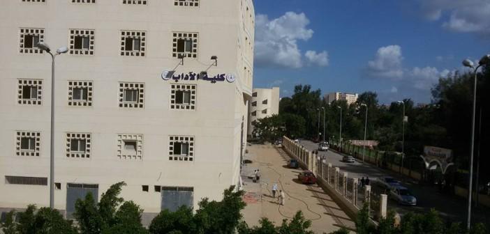 بالصور.. المياه تضرب جدران مبنى كلية الآداب بجامعة المنصورة قبل افتتاحها