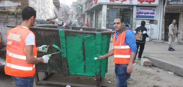 بالصور.. شباب يدشنون حملة لتنظيف وتجميل حي المطرية