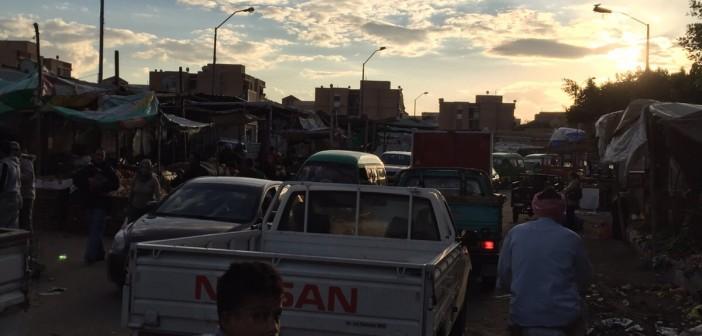 📷| تكدس مروري بمدينة السادات في منطقة سوق الخضار