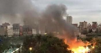حريق نادي الجزيرة في المنصورة