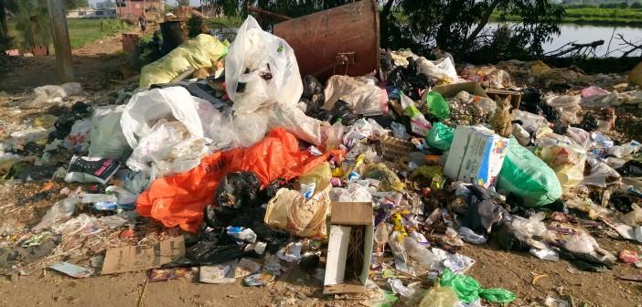 بالصور.. تفاقم أزمة القمامة في شوارع قرية الباز بدمياط
